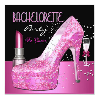 Bachelorette Party Lipstick Pink Shoes Custom Invites