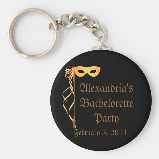 """Bachelorette Party"" - Masquerade Theme Basic Round Button Key Ring"