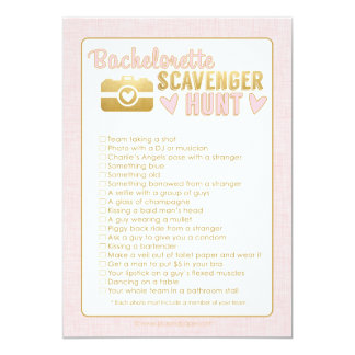 Bachelorette Party Photo Scavenger Hunt Game Pink Card
