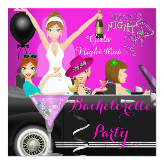 Bachelorette Party Pink Fun Limo Car Cocktails 1 13 Cm X 13 Cm Square Invitation Card