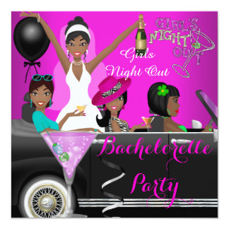 "Bachelorette Party Pink Fun Limo Car Cocktails 5.25"" Square Invitation Card"