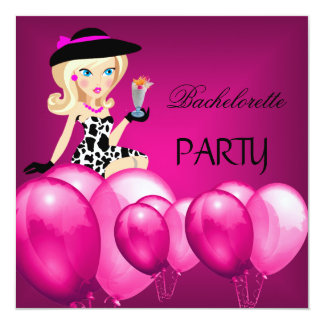 Bachelorette Party Pink Girl Balloons Cocktail 13 Cm X 13 Cm Square Invitation Card