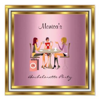 Bachelorette Party Pink Golden frame 13 Cm X 13 Cm Square Invitation Card