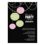 Bachelorette Party Pink Green Paper Lanterns Invite