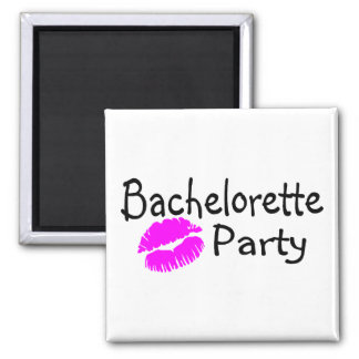 Bachelorette Party (Pink Lips) Square Magnet