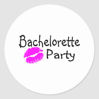Bachelorette Party Pink Lips Round Stickers