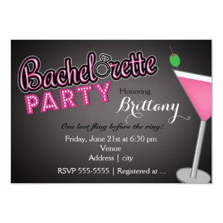 Bachelorette Party Pink Martini Fun Invitation
