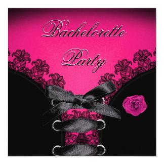 Bachelorette Party Pink Rose Black Lace 5.25x5.25 Square Paper Invitation Card