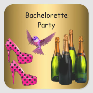 Bachelorette Party pink Shoes Champagne Bird Square Sticker