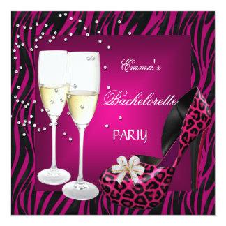 Bachelorette Party Pink Zebra Black Shoes 13 Cm X 13 Cm Square Invitation Card