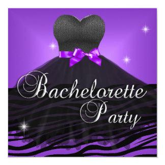 Bachelorette Party Purple Black Zebra Dress 13 Cm X 13 Cm Square Invitation Card