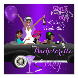 Bachelorette Party Purple Fun Limo Car Cocktail 3 13 Cm X 13 Cm Square Invitation Card
