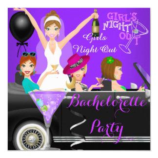 Bachelorette Party Purple Fun Limo Car Cocktails 1 5.25x5.25 Square Paper Invitation Card