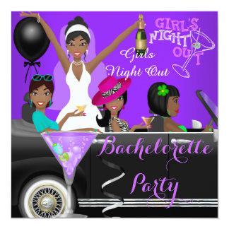 Bachelorette Party Purple Fun Limo Car Cocktails 5.25x5.25 Square Paper Invitation Card