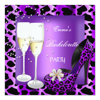 Bachelorette Party Purple Leopard Black Shoes 13 Cm X 13 Cm Square Invitation Card