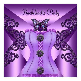 Bachelorette Party Purple Lilac Corset Butterfly 13 Cm X 13 Cm Square Invitation Card
