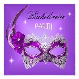 Bachelorette Party Purple Mask Black Card