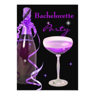 Bachelorette Party Purple Pink Black Champagne 5x7 Paper Invitation Card