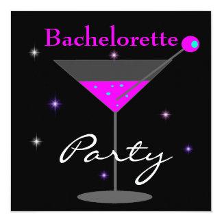 """Bachelorette Party Purple Pink Black Martini 2 5.25"""" Square Invitation Card"""