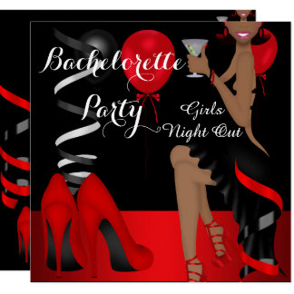 Bachelorette Party Red Black Shoe High Heels 2 Card