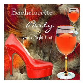 Bachelorette Party Red Shoes Hi Heels Wine Glass 13 Cm X 13 Cm Square Invitation Card