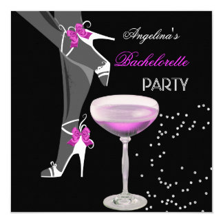 "Bachelorette Party Shoes Champagne pink 5.25"" Square Invitation Card"