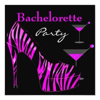 Bachelorette Party Shoes Pink Black Zebra Shoes 13 Cm X 13 Cm Square Invitation Card