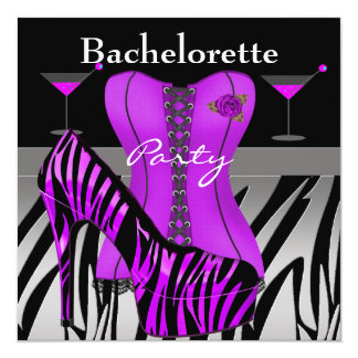 Bachelorette Party Shoes Purple Zebra Corset 13 Cm X 13 Cm Square Invitation Card