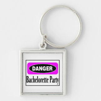 Bachelorette Party Silver-Colored Square Key Ring