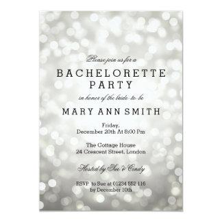 Bachelorette Party Silver Glitter Lights Card