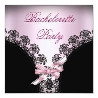 Bachelorette Party Soft Pink Black Lace Card