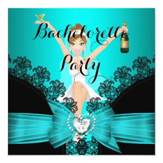 Bachelorette Party Teal Blue Black Lace fun 13 Cm X 13 Cm Square Invitation Card