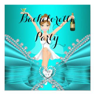 Bachelorette Party Teal Blue Diamond Lace fun Card