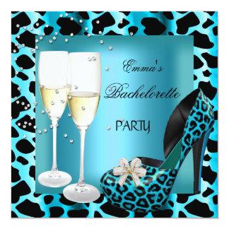 Bachelorette Party Teal Blue Leopard Black Shoes 13 Cm X 13 Cm Square Invitation Card