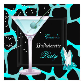 Bachelorette Party Teal Blue Leopard Shoes Black Card