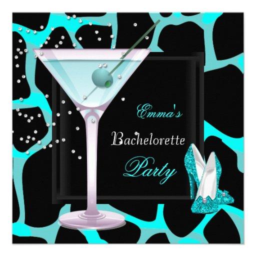 Bachelorette Party Teal Blue Leopard Shoes Black Custom Invitations
