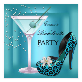 Bachelorette Party Teal Blue Leopard Shoes Glass Personalized Invitation
