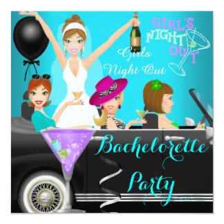 Bachelorette Party Teal Fun Limo Car Cocktails 1 13 Cm X 13 Cm Square Invitation Card