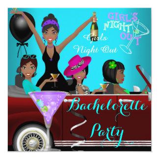 Bachelorette Party Teal Fun Limo Car Cocktails 2 13 Cm X 13 Cm Square Invitation Card
