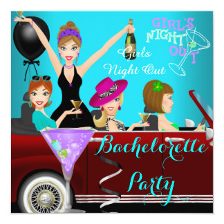"Bachelorette Party Teal Fun Limo Car Cocktails 2 5.25"" Square Invitation Card"