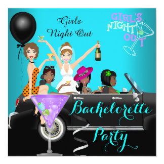 "Bachelorette Party Teal Fun Limo Car Cocktails 3 5.25"" Square Invitation Card"