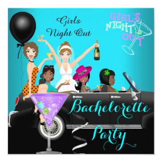 Bachelorette Party Teal Fun Limo Car Cocktails 3 13 Cm X 13 Cm Square Invitation Card