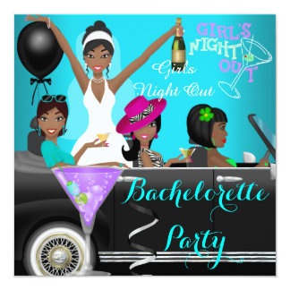 "Bachelorette Party Teal Fun Limo Car Cocktails 5.25"" Square Invitation Card"
