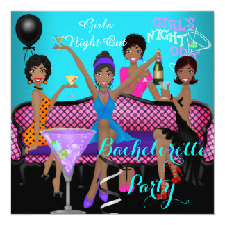 "Bachelorette Party Teal Pink Fun Girls Cocktails 3 5.25"" Square Invitation Card"