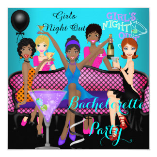 Bachelorette Party Teal Pink Fun Girls Cocktails 4 13 Cm X 13 Cm Square Invitation Card
