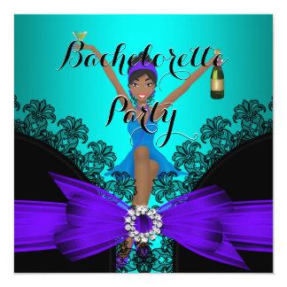 Bachelorette Party Teal Purple Black Lace fun 13 Cm X 13 Cm Square Invitation Card