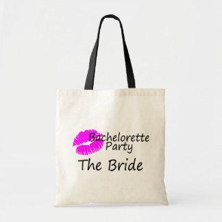 Bachelorette Party The Bride Pink Kiss Canvas Bag