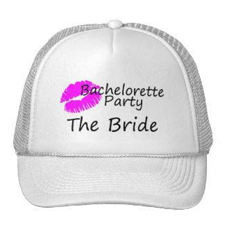 Bachelorette Party The Bride Pink Kiss Hats