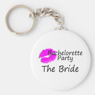 Bachelorette Party The Bride Pink Kiss Key Chain