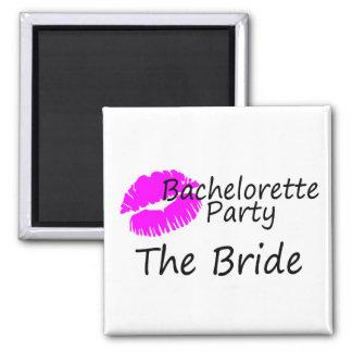 Bachelorette Party The Bride Pink Kiss Fridge Magnet